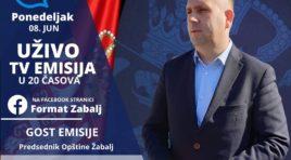 Ekskluzivna emisija uživo sa predsednikom Opštine Žabalj večeras u 20 časova